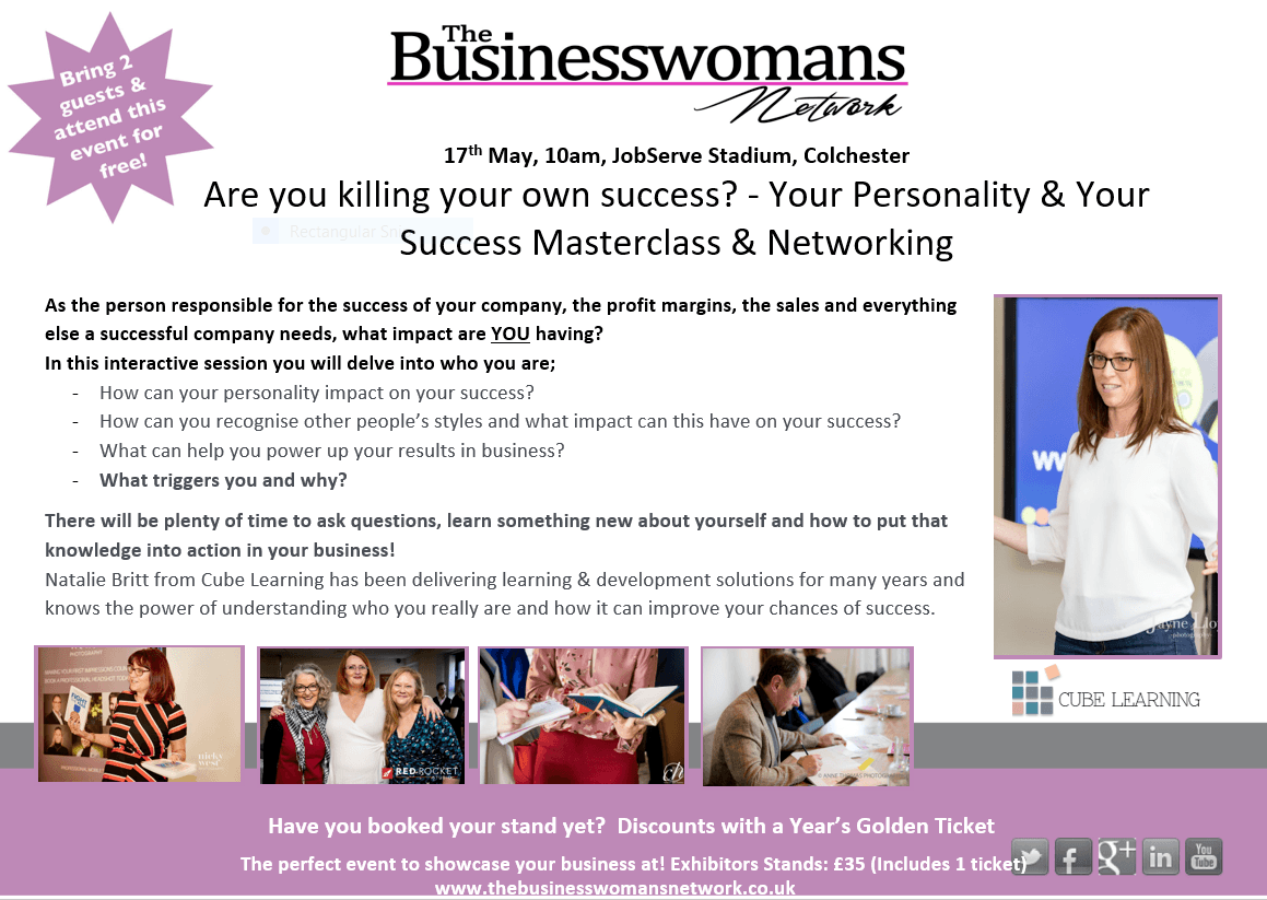 17th May - personality testing and your business bwn colchester essex networking natalie britt